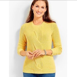 Talbots Cable Twist Front Sweater Yellow Sz Large